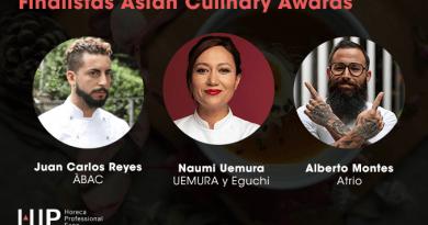 Juan Carlos Reyes (Àbac), Alberto Montes (Atrio) y Naumi Uemura, finalistas del concurso 'Mejor receta asiática de España'